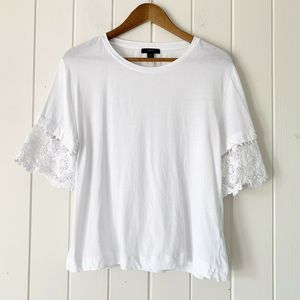 J. Crew White Lace Sleeve Tee Top Medium